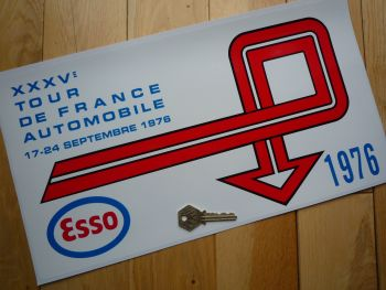 "Tour de France Automobile Esso 1976 Rally Plate Style Sticker. 16""."