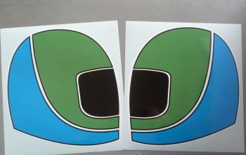 """British Leyland Austin Rover Helmet Stickers. 9"""" Pair."""