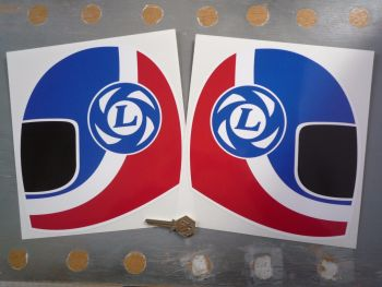 "British Leyland Blue & Red Helmet Stickers. 10.5"" Pair."