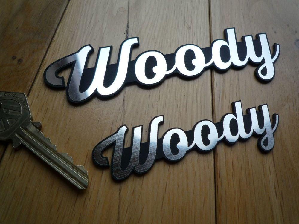 Woody Laser Cut Self Adhesive Car Badges.  5.5 & 3.75 inches