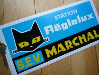 "SEV Marchal Station Reglolux Blue Background Sticker. 12""."