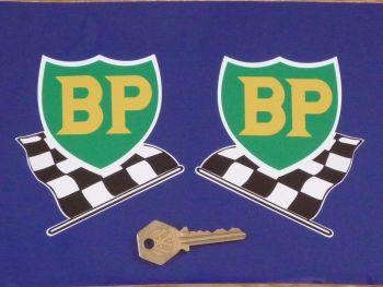 "BP '58 - '89 Shield & Chequered Flag with White Border Stickers. 12"" Pair."