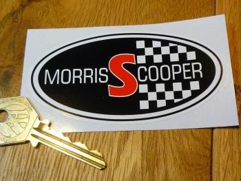 "Morris Mini Cooper S Oval Stickers. 4"" Pair."