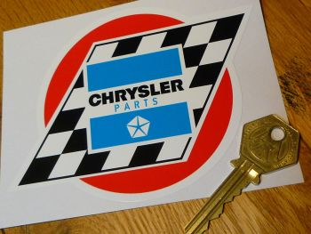 "Chrysler Parts Chequered Flag Sticker. 5""."