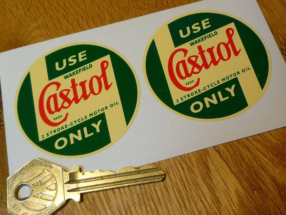 "Castrol Wakefield Pre'58 2 Stroke-Cycle Motor Oil Cream Stickers. 2"" Pair."