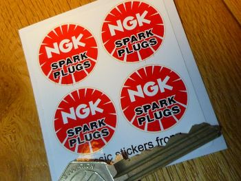 "NGK Spark Plugs Round Stickers. Set of 4. 1""."