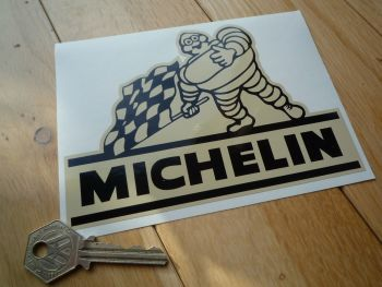 "Michelin Black & Beige Bibendum with Chequered Flag Stickers. 6"" Pair."