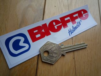 "Bieffe Helmets Red, Blue & White, Oblong Sticker. 5""."