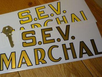 "SEV Marchal Old Style Script Cut Vinyl Sticker. 9.25""."