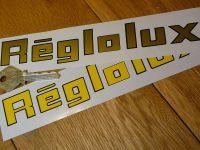 "Reglolux (Marchal) Old Style Script Cut Vinyl Sticker. 7.5""."