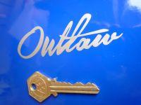 """Outlaw Motorcycle, Biker, Hot Rod, Custom Script Style Cut Vinyl Sticker. 3.75""""."""