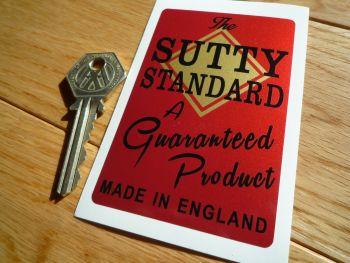 "Sutty Standard, A Guaranteed Product, Foot Pump Sticker. 3.75""."