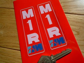 "Marzocchi M1R Printed White & Blue on Clear Vinyl Stickers. 4.25"" Pair."