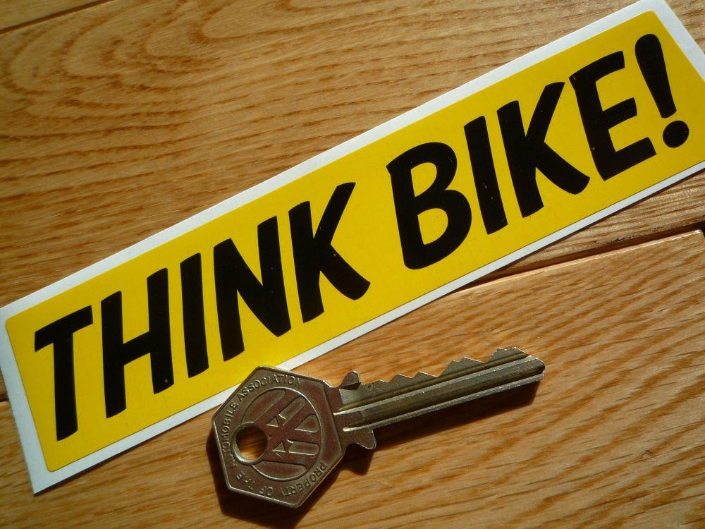 "Think Bike! Self Adhesive Vinyl Car Sticker. 6""."