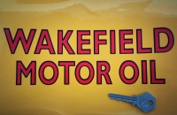 """Castrol Wakefield Motor Oil Cut Text with Black Outline Sticker. 9""""."""