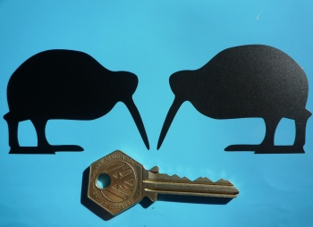 "Kiwi Black Cut Vinyl Car, Helmet & Motorcycle Stickers. 2.75"" or 4"" Handed Pair."