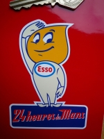 "Esso Saluting Oil Drip Boy Le Mans 24 Hour Sticker. 4""."