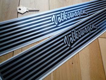 "Volkswagen Black & Silver Kickplate Stickers. 20"" Pair."