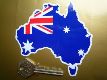 "Australian Flag Land Shaped Car Sticker. 4"" or 6""."