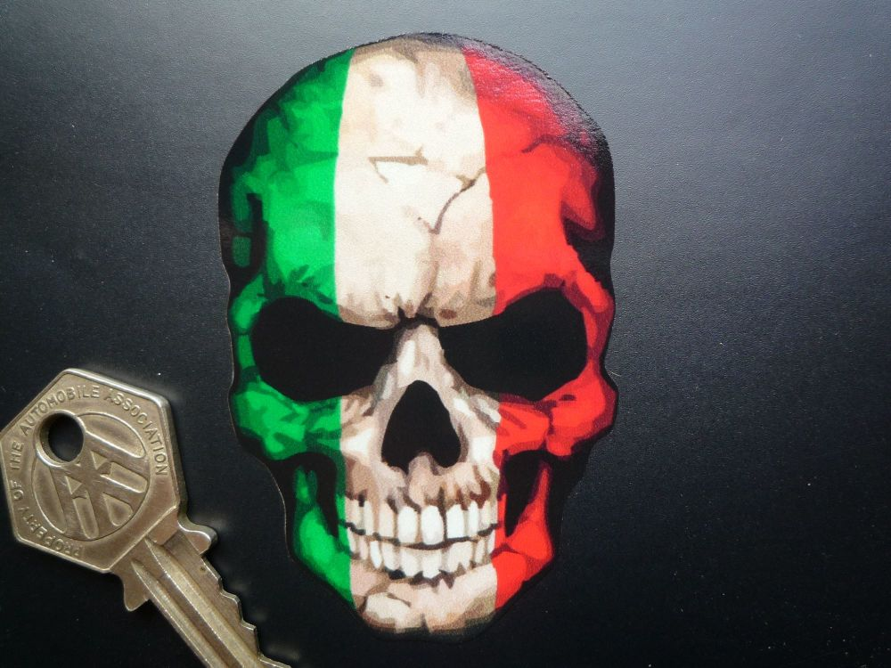 "Reflective Skull in Italian Tricolore Flag Style Sticker. 3""."