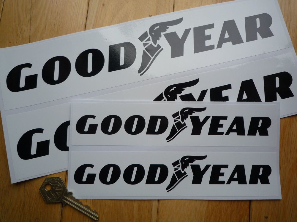 "Goodyear Black on White Oblong Stickers. 8"" or 12"" Pair."