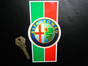"Alfa Romeo Modern Logo & Stripes Sticker. 6""."