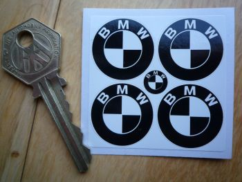 BMW Black & White Roundel Stickers. Set of 4. 25mm.
