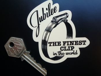"Jubilee 'The Finest Clip' Shaped Sticker. 3""."