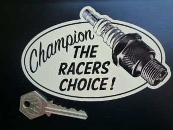 "Champion Spark Plugs 'The Racers Choice' Oval Sticker. 5.5""."