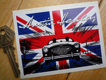 "Austin Healey 3000 100-6 etc Union Jack Sticker. 4""."