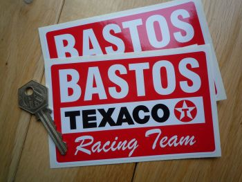 "Texaco Bastos Racing Team Oblong Stickers. 5"" Pair."