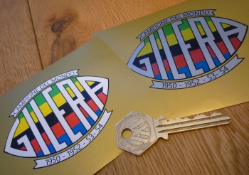 Gilera Rainbow Campione Del Mondo 1950-52-53-54 Sticker. 80mm.
