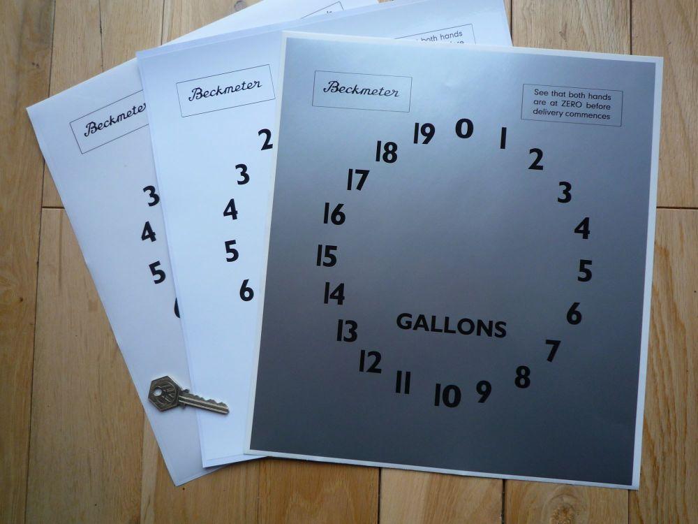 """Beckmeter Petrol Gas Pump Gallons Clock Face Sticker. 11"""" x 12""""."""