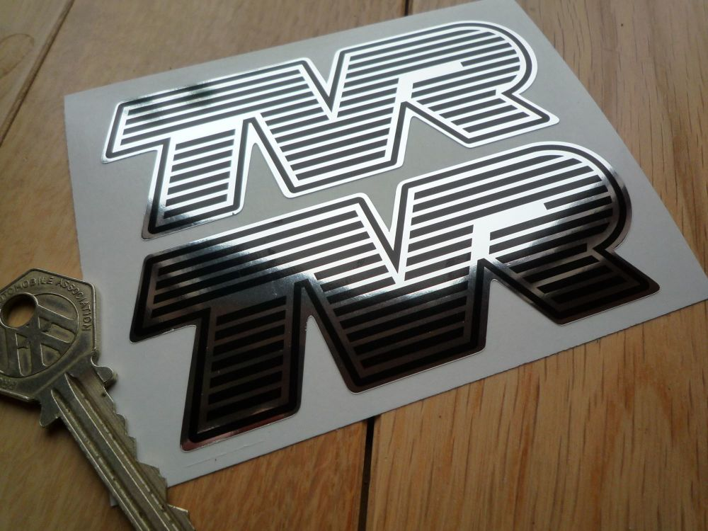 "TVR Black & Chrome effect Striped Text Thick Foil Shaped Stickers. 4"" Pair."