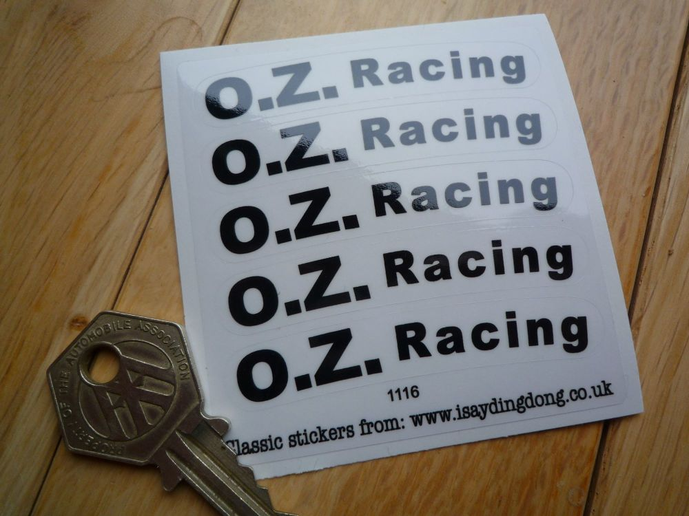 OZ Racing Black & Clear Curved Wheel Stickers. 68mm. Set of 5.