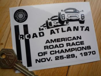 "Road Atlanta Oblong Black & Clear Sticker. 4.5""."