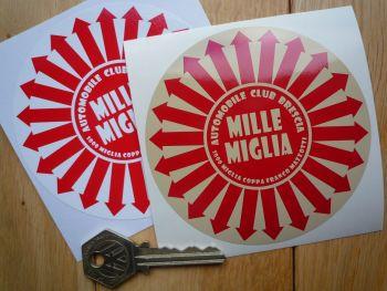 "Mille Miglia Radial Arrows style Round Sticker. 3.75""."