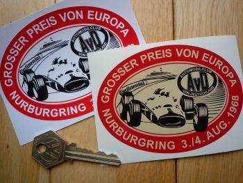 """AvD Grosser Preis von Europa 1968 Nurburgring Sticker. 4.25""""."""