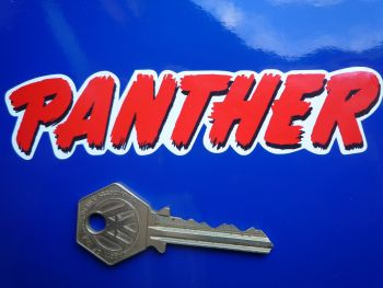 """Panther Printed Red Text Stickers. 4.75"""" Pair."""