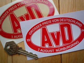 """AvD Automobilclub von Deutschland Nurburgring Stickers. 4.5"""" Pair."""