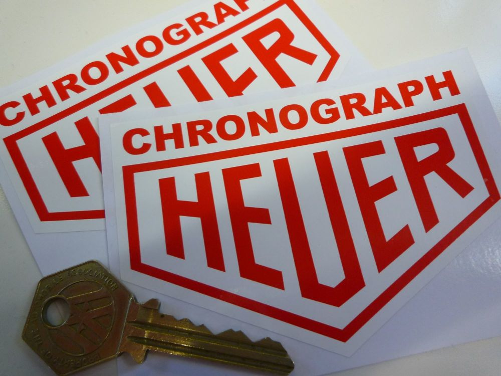"""Chronograph Heuer. Red on White Stickers. 4"""" Pair."""