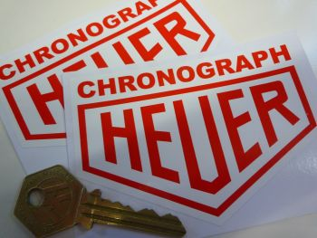 "Chronograph Heuer. Red on White Stickers. 4"" Pair."