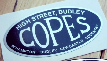"""Copes. High Street, Dudley. Motorcycle Dealers Vinyl Sticker. 2""""."""