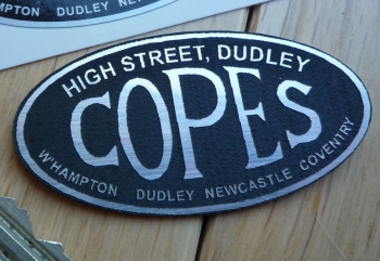 """Copes. High Street, Dudley. Motorcycle Dealers Self Adhesive Badge. 2""""."""
