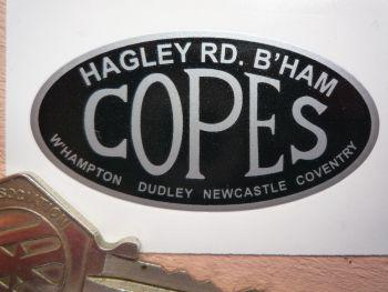 "Copes. Hagley Road, Birmingham. Motorcycle Dealers Vinyl Sticker. 2""."