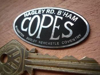 "Copes. Hagley Road, Birmingham. Motorcycle Dealers Self Adhesive Badge. 2""."