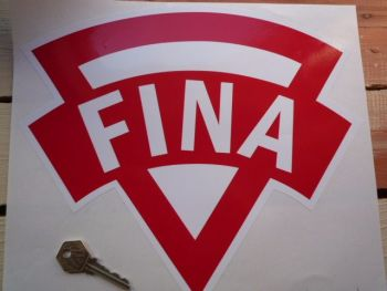 "Fina Old Style. Red & White. Shaped Petrol Can Sticker. 12""."