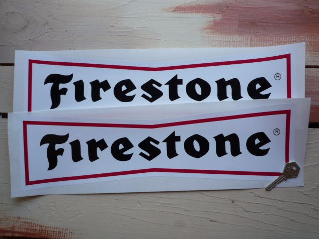 """Firestone 'Dicky Bow' with Black Letters Stickers. 18"""" Pair."""