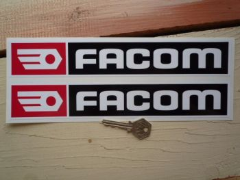 "Facom Black, Red & White Oblong Stickers. 14"" Pair."