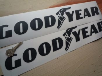 "GoodYear Cut Text & Winged Shoe Stickers. 18"" or 27"" Pair."